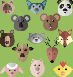 Flat style of different animals vector