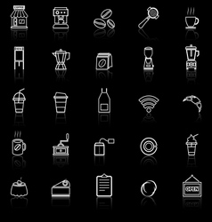 Coffee shop line icons with reflect on black vector
