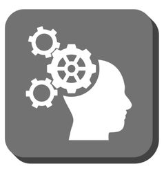 Brain mechanics rounded square icon vector