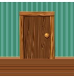 Cartoon wooden old door vector