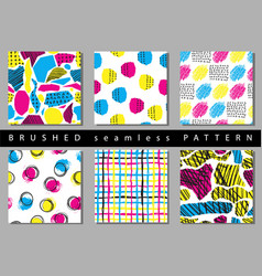 Set of seamless pattern with brush stripes vector