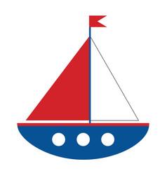 Cartoon ship on white background vector