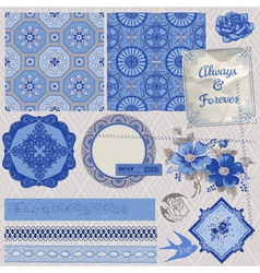 Vintage porcelain and flower set vector