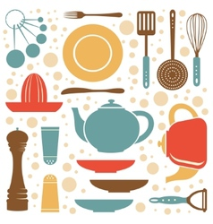 A kitchen collection retro style vector