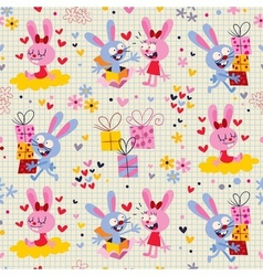 Bunnies gifts pattern 2 vector