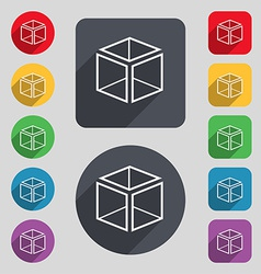 3d cube icon sign a set of 12 colored buttons and vector