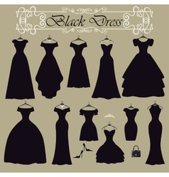 Silhouette of black party dress setflat design vector
