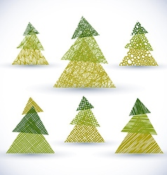 Christmass tree set hand drawn lines textures used vector