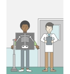 Patient during x-ray procedure vector