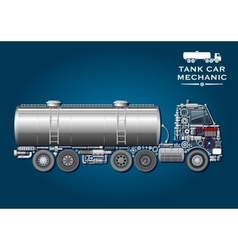 Tank truck symbol made of mechanical parts vector