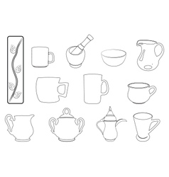 Kitchen elements in black outline vector