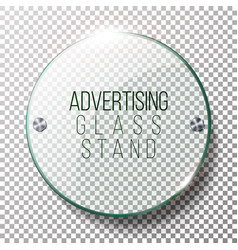 Advertising round glass blank 3d realistic vector