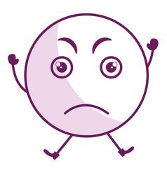 Angry face emoticon kawaii character vector
