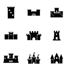 Black castle icon set vector