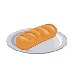 Breakfast food bread wheat grain with plate vector