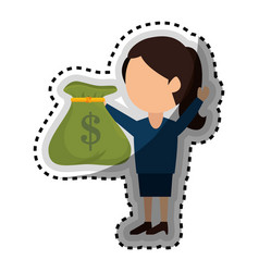 Businessman with money bag isolated icon vector