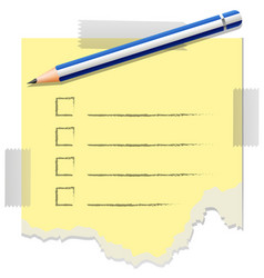 Checklist template with one pencil on it vector