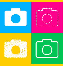 digital camera sign four styles of icon on four vector image vector image