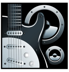 Electronic guitar and speaker system vector