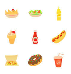 Fast food menu icons set cartoon style vector