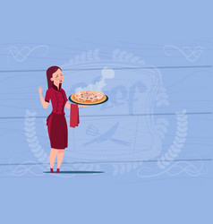 Female chef cook holding pizza cartoon chief in vector