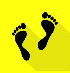Foot prints sign black icon with flat style vector