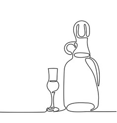 Grappa bottle and glass isolated vector