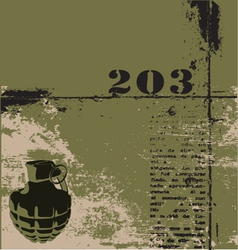hand grenade grunge background vector image vector image