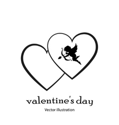 Heart icon with an angel in black style on a white vector