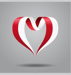 indonesian flag heart-shaped ribbon vector image