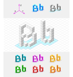 Isometric font from the cubes Letter B vector image