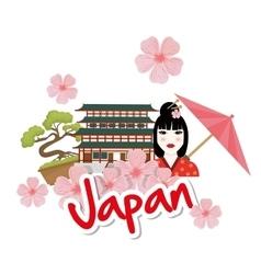 Japan design culture icon flat vector