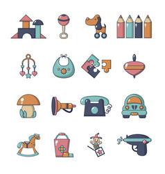Kindergarten icons set cartoon style vector