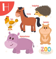 Letter H Cute animals Funny cartoon animals in vector image