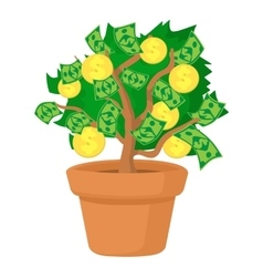 Money tree icon cartoon style vector