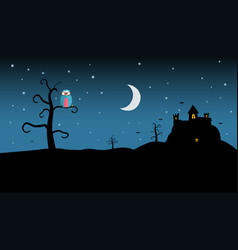 Night landscape with spooky castle and owl on vector