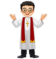 Priest wearing glasses and cross vector image vector image