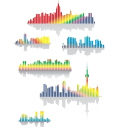 rainbow city vector image vector image