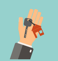 Real estate concept agent holding a key for vector