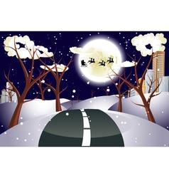 Santa claus coming to city vector