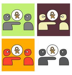 Set of flat odnoklasniki icon on background vector
