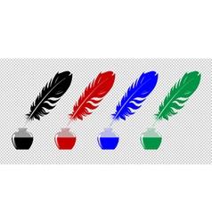 Set of inkwells vector image