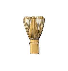 Sketch cartoon wooden whisk for matcha vector