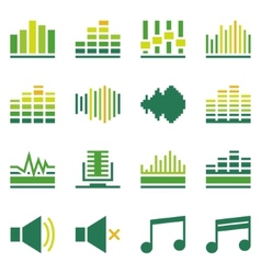 Sound or music soundwave flat green icons vector