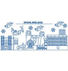 Spain malaga andalusia winter city skyline vector