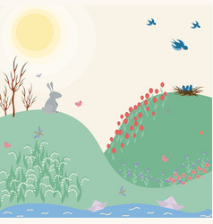 spring green flat landscape with flowers rabbit vector image