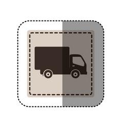 Sticker monochrome square with truck vector
