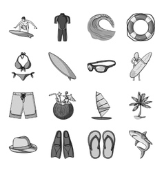 Surfing set icons in monochrome style big vector