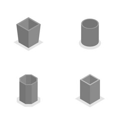 Urn for garbage in isometric vector
