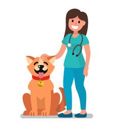 Veterinarian doctor examining dog vector